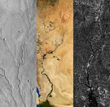 Images Of River Valleys On Mars Left Earth Center And Saturns Moon Titan Right Credit Ben Black NASA