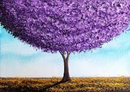 Bing Art By Rachel Bingaman Purple Tree Landscape Painting Abstract 5 X Original Oil