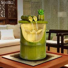kreative fung shui ornamente wohnzimmer desktop decor bambus form wasser brunnen glück berg wasser rad wasserlandschaft handwerk