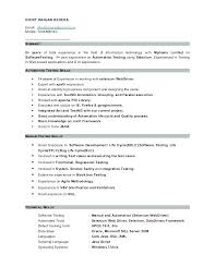 Qtp Resume Sample For Selenium Automation Testing Cool Exp Manual And
