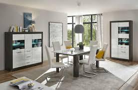 details zu etero esszimmer set 249cm concret weiß hochglanz highboard vitrine 441508