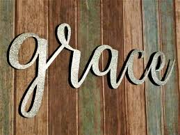 Grace Sign Farmhouse Wall Decor Art Rustic Word Metal Words Signs