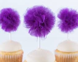 Tulle Pom Pom Decorations by Lavendar Glitter Tulle Pom Cupcake Pom Tulle Pom Cupcake