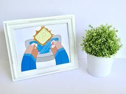 hände waschen minecraft stil bad wand kunst dekor für kinder lustig rahmen steve poster bild digital bedruckbare
