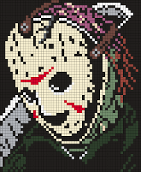 Halloween Perler Bead Patterns by Jason Voorhees Friday The 13th Poster Square Perler Bead