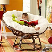 Microsuede Folding Saucer Chair by Furniture Comfortable Papasan Chair With White Hairy Cushions On
