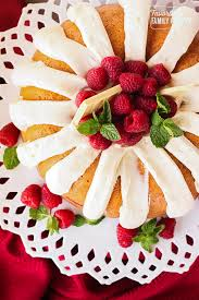 Above View Of Nothing Bundt Cakes White Chocolate Raspberry Cake On A Platter