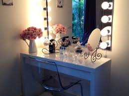 bedroom makeup mirror with light bulbs plus white wooden
