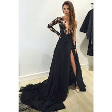 Aliexpress Buy Sexy Formal Dresses Long Sleeve Prom 2016 Appliques Beading High Leg Slit Evening Cheap Abendkleider From Reliable