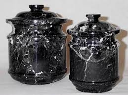 Click To Enlarge Decorative Black Marble Canister Set