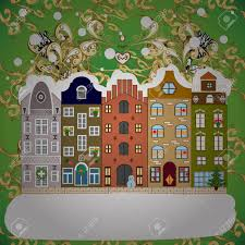100 Houses In Nature Landscape Winter City With Trees Cute Houses Vector
