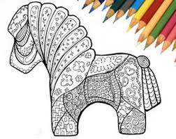 Horse Coloring Page Printable Zentangle Pony Book
