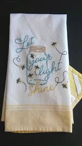 Mason Jar Lightening Bugs Tea Towel Fireflies By HooksAndRoses