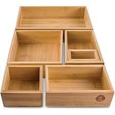 take 6 teiliges schubladen ordnungssystem aus 100 natur bambus variable schubladen organizer boxen in vers größen ideal als make up organizer