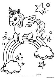 Coloriage Arc En Ciel Licorne Kawaii Dessin