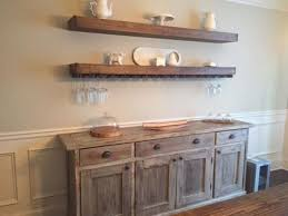Diy Floating Shelves With Wine Glass Storage Over Buffet In Dining Room On