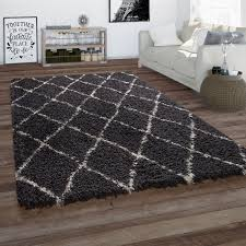 hochflor teppich wohnzimmer shaggy skandi rauten muster weich flauschig grau