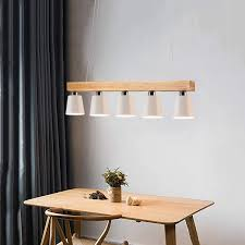 zmh pendelleuchte holz für esstisch rustikal esszimmerle esstischle hängeleuchte 5 flammig pendelle e27 leuchtmittel inklusiv weiß