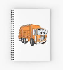 Orange Smiling Garbage Truck Cartoon