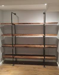 Rustic Industrial Pipe Shelf With Reclaimed Barn Wood Shelves