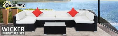 Outsunny Patio Furniture Instructions by Amazon Com Outsunny 7 Piece Outdoor Patio Rattan Wicker Sofa