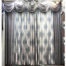 custom gray jacquard chenille floral window curtain for living