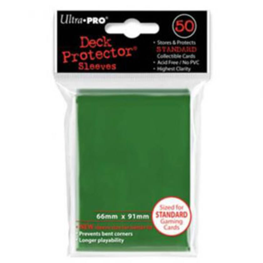 Ultra-Pro Deck Protectors Sleeves - 50 Count, Green, 66mm x 91mm