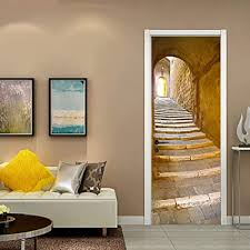 doorwp kreative 3d tür aufkleber stein schritte wohnzimmer
