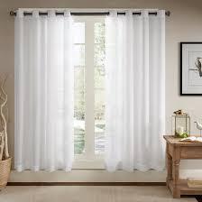 ösenschal voile vorhang in leinen optik leinenstruktur ösenvorhang gardine mit ösen solid sheer wohnzimmer white 2er set je 245x140cm