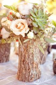 Wedding Bouquets Flowers Center Piece Rustic Country Hollowed Out Logs Wood VaseWedding