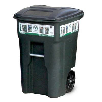 Toter 025548-01GRS Wheeled Trash Can - Green, 48gal