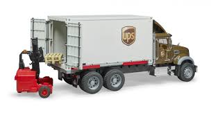 02828 1/16 UPS Logistics Mack Granite Truck With Forklift | Action Toys