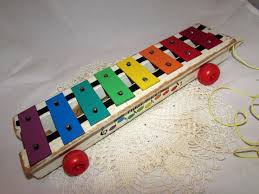 100 Home Made Xylophone Vintage Fisher Price Musical Pull Toy 70s Home Dcor Collectible Great Display Rainbow Keys