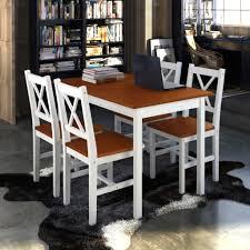 5 pcs holz esstisch möbel set mit 4 stühlen braun und weiß