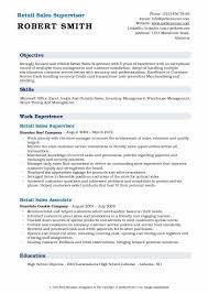 Retail Sales Supervisor Resume Sample