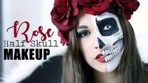 Halloween Half Mask Makeup by Halloween Half Skull Makeup Tutorial Jenna