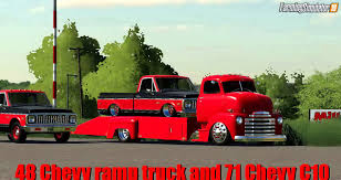 100 48 Chevy Truck Ramp Truck And 71 C10 V10 For FS19