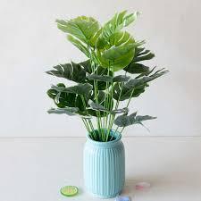 49cm 18 gabeln grün künstliche monstera pflanzen nordic stil zu hause dekoration zubehör schlafzimmer wohnzimmer decor gefälschte pflanzen