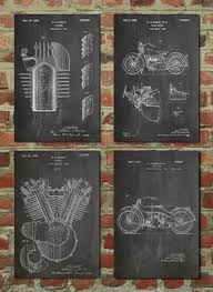 Harley Davidson Patent Posters Group Of 4 Sign Vintage Motorcycle