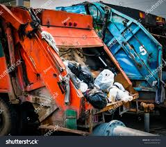 Back Of Old Garbage Truck With Waste. Urban Waste Management Concept ...