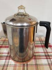 VINTAGE Revereware Coffee Pot DOUBLE RING Stove Top Copper Bottom PYREX TOP