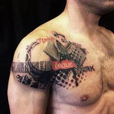Leave Mark Shoulder Tattoo For Men