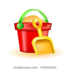 Cute Toy Bucket And Spade Icon On White Background Isolated Vector Illustration