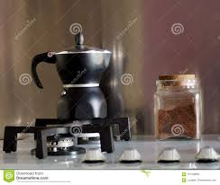 Download Black Moka The Traditional Italian Coffee Maker With A Glass Jar Full Of
