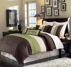 Bed Cover Sets by Chezmoi Collection 8 Pieces Beige Green And Brown Luxury Stripe