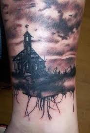 Gothic Church Tattoo On Ankle