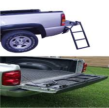 Black Tailgate Ladder Step Up Truck Pickup Folding Steel Heavy Duty ...