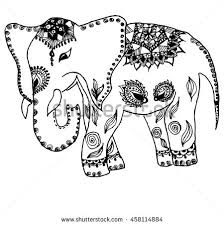 Vector Monochrome Hand Drawn Zentagle Illustration Of An Elephant Coloring Page With High Details Isolated