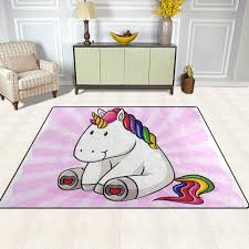 ISAOA Modern And Soft Childrens RugHappy Unicorn Sit Carpet Area