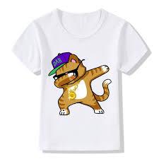 Dabbing Unicorn Cartoon Funny Boys T Shirt Kids Rabbit Cat Panda Dog Summer